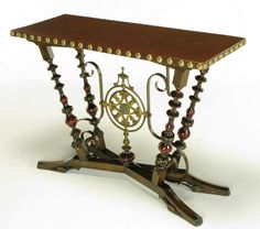 1stdibs   Aesthetic Movement Wood, Iron & Leather Console Table