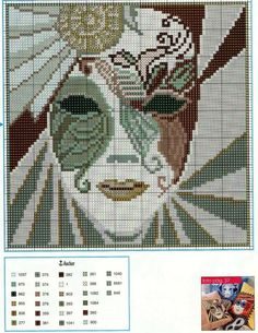 Mask x-stitch pattern Counted Cross Stitch Patterns, Cross Stitch Designs, Cross Stitch Embroidery, Beading Patterns, Embroidery Patterns, Seed Bead Projects, Cross Stitch Boards, Tapestry Crochet, C2c