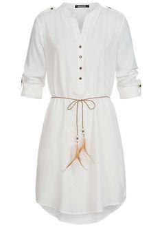 91688058c51fde Hailys Damen Longform Bluse mit Bindegürtel Turn-Up Ärmel 4 Knöpfe off  weiss - 77onlineshop