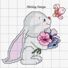 Conejo Cross Stitch Boards, Cross Stitch Fabric, Cross Stitch Baby, Cross Stitch Animals, Counted Cross Stitch Patterns, Cross Stitch Designs, Cross Stitching, Cross Stitch Embroidery, Crochet Baby Mobiles