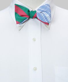 The Social Primer Reversible Bow Tie: BB#4 Repp Stripe and Seersucker Stripe