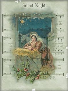 Paper Crafts – Vintage Pieces for Collage/Altered Art – Mary and Child – Ammey's Art Attic Christmas Sheet Music, Noel Christmas, Christmas Paper, Christmas Crafts, Xmas, Christmas Night, Vintage Christmas Images, Antique Christmas, Christmas Pictures