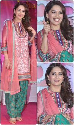 Celebrity Style,madhuri dixit,tanya ghavri,Pankaj and Nidhi,aquamarine Ball Gown Dresses, Party Wear Dresses, Formal Dresses, Indian Dresses, Indian Outfits, Punjabi Dress, Punjabi Suits, Salwar Suits, Patiala Suit Designs