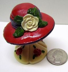 Vintage Red Hat with Flowers Figurine ( RED HAT SOCIETY ) - Home Decor - Collectibles by VINTAGEandMOREshop on Etsy https://www.etsy.com/listing/242207175/vintage-red-hat-with-flowers-figurine