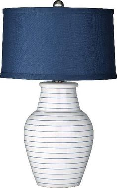 THE WELL APPOINTED HOUSE - Luxury Home Decor- Redondo Navy Blue and White Beach Lamp with Shade