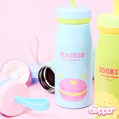 This adorable thermos bottle that is decorated with delicious candies, donuts and other sweet treats. The bottle is made from stainless steel and keeps cold drinks cold and warm drinks warm. Now you can stay hydrated and drink your tea, coffee or other liquids in kawaii style! Available in 5 cute pastel colors.