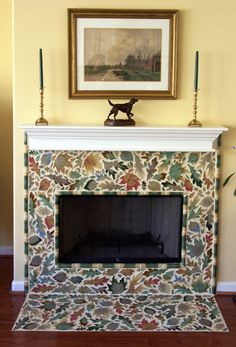 Mosaic Fireplace, Leaves: I love it, but maybe not in my house.