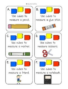 First Grade: Measure It! Measuring with cubes. Comparing the length of two objects with a third object