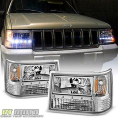 1993 1998 Jeep Grand Cherokee 6in1 Drl Led Headlights Corner Bumper Lights 93 98 Jeep Cherokee De Parachoques Autos Y Motos