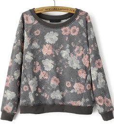 Shop Grey Long Sleeve Floral Loose Sweatshirt online. Sheinside offers Grey Long Sleeve Floral Loose Sweatshirt & more to fit your fashionable needs. Free Shipping Worldwide!
