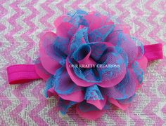 Elastic Headband, Newborn Headband, Large Flower, Flower Headband, Polyester Flower, Photo Shoot Prop by OurKraftyCreations on Etsy