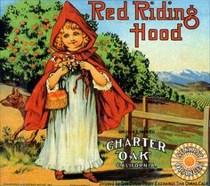 Little Red Riding Hood--Vintage Crate Label  # Illustration  1911