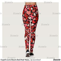 Shop Cupid's Love Hearts Red Pink Valentines Black Leggings created by LeonOziel. Cupid Love, Leggings Fashion, Look Cool, Love Heart, Dressmaking, Black Leggings, Red And Pink, Hand Sewing, Things That Bounce