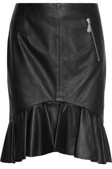 McQ Alexander McQueen Ruffled leather mini skirt | NET-A-PORTER