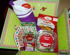 Christmas care package with peppermint bark.