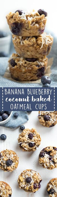 Banana Blueberry Coconut Baked Oatmeal Cups are a great on-the-go breakfast or snack option! Made with coconut milk, maple syrup, bananas, blueberries, coconut and oats, these tasty little cups are a healthier option for both kids and adults. #blueberry #banana #oatmeal #cups #travel #recipe #healthyrecipe