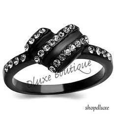 Women's Round Cut AAA CZ Black Stainless Steel Heart Fashion Ring Size 5-10 #Band