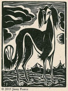 """Desert Saluki"" - A Letterpress Lino Block Print by artist Jinny Pearce, as seen on Etsy.com."