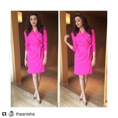 #Repost @theanisha with @repostapp ・・・ @kajalaggarwalofficial working this @byplakinger trench dress in chennai today  #kajalaggarwal #pink