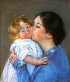 A Kiss For Baby Anne - Mary Cassatt, c.1897