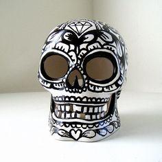 Ceramic Sugar Skull Black White Day of the Dead Halloween Lantern Votive Holder Hand Painted Tattoo Sacred Heart Roses - READY TO SHIP