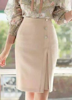 Side Button Detail Front Slit Pencil Skirt Korean Women`s Fashion Shopping Mall, Styleonme. New Arrivals Everyday and Free International Shipping Available. Skirt Outfits, Dress Skirt, Korean Women, African Dress, Work Attire, Mode Inspiration, African Fashion, Fashion Dresses, Dresses Dresses