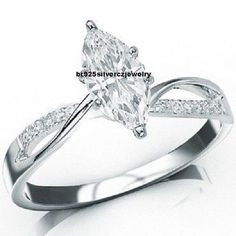14K White Gold 3 Cts Marquise Cut Diamond Twisting Split Shank Engagement Ring #br925silverczjewelry #SolitaireRing #WeddingEngagementAnniversaryBirthdayGift