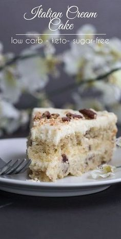 Low Carb Italian Cream Cake - Low Carb Keto - Ideas of Low Carb Keto - This may be the most divine low carb layer cake you will ever make. So creamy and rich and only total carbs per slice! via All Day I Dream About Food Desserts Keto, Sugar Free Desserts, Dessert Recipes, Sugar Free Cakes, Easy Diabetic Desserts, Diabetic Cake Recipes, Dinner Recipes, Jelly Recipes, Plated Desserts