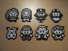 Mini Perler/Hama Bead Pokemon Character Sprites (Ash, Pikachu, Gary, Professor Oak, Jessie and James-Team Rocket, Nurse Joy, Officer Jenny)