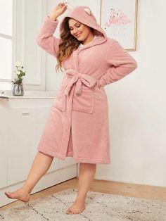 Limited Supply Plus Hooded Belted Plush Robe Pop Fashion, Fashion News, Buy Dress, Shirt Dress, Mens Pants Size Chart, Lingerie Sleepwear, Nightwear, Spandex Material, Women's Fashion Dresses