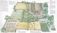 acre farm layout from Self Sufficient Life book by john seymour Homestead Layout, Homestead Farm, Homestead Gardens, Homestead Survival, Farm Gardens, Horse Farm Layout, Farm Plans, Mini Farm, Urban Homesteading