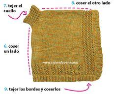 Saco con mangas murciélago tejido en dos agujas para niños Knitted Shawls, Crochet Shawl, Knit Crochet, Baby Knitting, Cowl, Stitch Patterns, Peru, Children, Winter