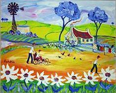 Portchie South African Artists, Dream Art, Gustav Klimt, Landscape Art, Pretty Pictures, Fiber Art, Folk Art, Sculptures, Alice