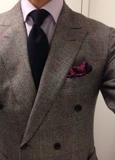 Light grey plaid jacket, lavender shirt, navy tie