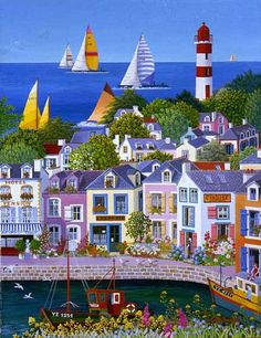 Harbor And Regatta-- Cellia Saubry(1938-) French Naive Artist