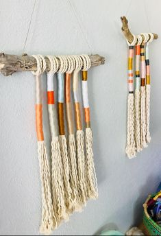Bohemian yarn wrapped tassel wallhanging - - Vibrant boho tassel yarn art in bright colors . On a beautiful driftwood branch . Perfect pop of color for a little color. Each piece is its unique combination of colors . But with a similar palette . Craft Stick Crafts, Yarn Crafts, Diy And Crafts, Arts And Crafts, Diy Yarn Decor, Yarn Wall Art, Yarn Wall Hanging, Art Yarn, Wall Hangings