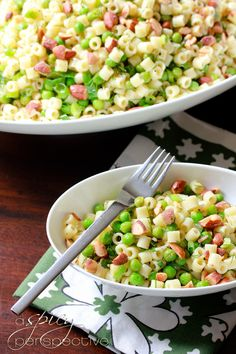 Pasta with Peas, Smoked Almonds, and Dill | ASpicyPerspective.com #pasta #peas #almonds