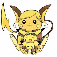 Pikachu, Pichu and Raichu ^.^ ♡