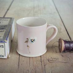 Jane Hogben Pink Pansy Mug