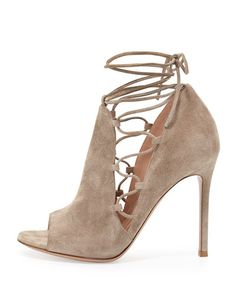 S0CRF Gianvito Rossi Side Lace-Up Peep-Toe Bootie, Cashmere