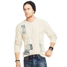 Repaired Cable-Knit Sweater - Denim & Supply  Crewneck - RalphLauren.com