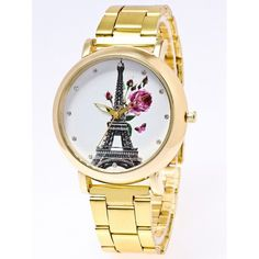 7.64$  Watch now - http://diu7p.justgood.pw/go.php?t=206242801 - Flower Eiffel Tower Print Stainless Steel Watch