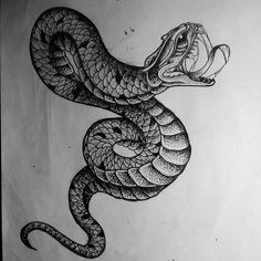 Wonderful dotwork snake tattoo design