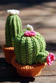 Crocheted cactus garden.