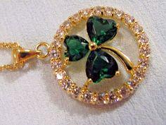 Beautiful Irish green Shamrock PENDANT Crystal surround ring perfect gift 4 Her Rose Cottage, Ring Necklace, Crystal Rhinestone, Irish, Brooch, Chain, Crystals, Store, Pendant