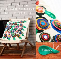 Wee Gallery: Collaborative Art Project for Fundraiser - felt circle flower cushion