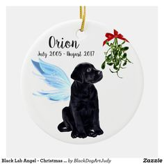 Shop Black Lab Angel - Christmas Memorial Ornament created by BlackDogArtJudy. Personalize it with photos & text or purchase as is! Christmas Dog, Christmas Angels, Christmas Bulbs, Christmas Stuff, Christmas Ideas, Memorial Ornaments, Dog Ornaments, Black Labrador Retriever, Labrador Puppies