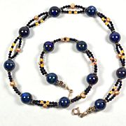 """Handmade Blue Azurite Gemstone and Sterling Silver Choker Necklace, 10% discount when mentioning """"pinterest"""". valid in Aug. 2014."""