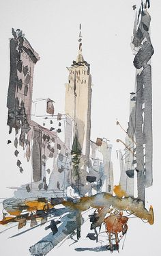 Nyc Impressions 1 von Tony Belobrajdic - New Sites Architecture Drawing Sketchbooks, Watercolor Architecture, Art And Architecture, Landscape Sketch, Watercolor Landscape, Landscape Art, Art And Illustration, Watercolor Illustration, Illustrations