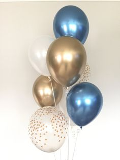 Chrome Blue Balloons Navy and Gold Balloons Navy and White Birthday Table Decorations, Balloon Decorations Party, Baby Shower Decorations, First Birthday Balloons, Blue Birthday, Its A Boy Balloons, White Balloons, Birthday Gifts For Husband, Best Birthday Gifts